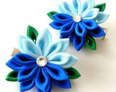 Flores de tela Kanzashi. Juego de 2 pinzas de pelo. Tonos por JuLVa