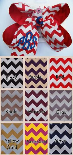Large Chevron Point 3 Letter Triple Monogram Bow by karenscreations1, $9.98