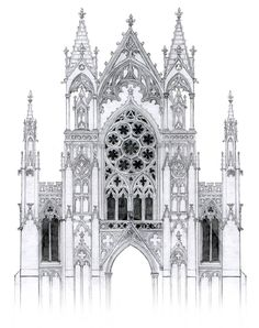 gothic facade with rose window by dashinvaine