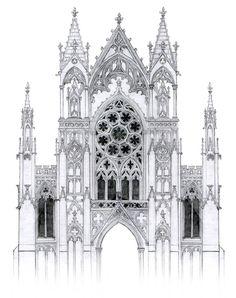 gothic facade with rose window by *dashinvaine on deviantART