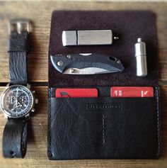 Every day carry. Bas and Lokes black handmade leather flap wallet and leather watch strap. Available now.