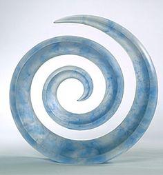 Marek Fisar - Blue Spiral - glass sculpture, mold melted crystal glass