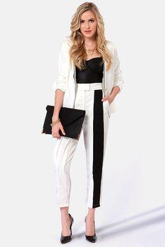 Cute Ivory Pants - Black Pants - Pleated Pants - [$49.00]