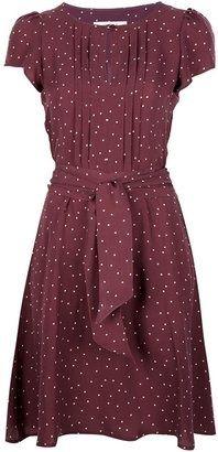 burgundy polka dot dress