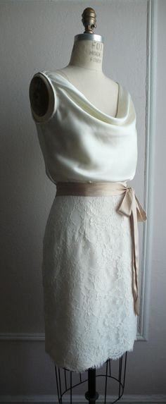 """French Lace Cocktail Bridal Dress, 1940's Inspired, Cowl Bodice, """"Penny"""" silhouette, customizable"""
