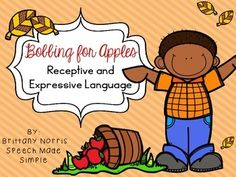 """Have students """"bob"""" for apples while working on receptive and expressive language skills!"""