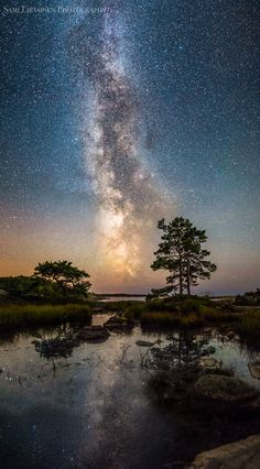 Reflection - Milky way reflecting from a small pond near the sea, by Sami Lievonen. Beautiful Sky, Beautiful World, Beautiful Pictures, Landscape Photography, Nature Photography, Astronomy Pictures, Galaxy Art, Dark Skies, Milky Way