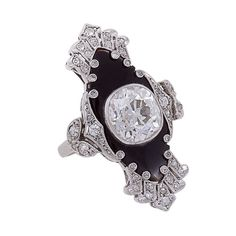 Unique Art Deco Onyx Diamond Platinum Ring | 1stdibs.com