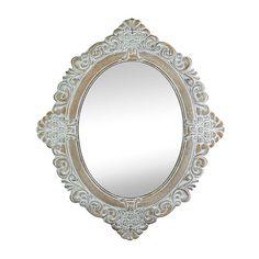 This gorgeous oval wall mirror takes a touch of vintage style and makes a traditional masterpiece.This Antique-Style Taupe Oval Wall Mirror features a beautiful antique wood frame with intricate flourishes and pretty flowers that are perfectly showcased.