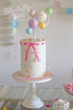 Confetti & Balloons Birthday Cake by Blissfully Sweet ~ Toddler Girls 2nd second birthday party cake