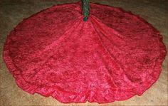 Christmas Tree Skirt 44 Crushed Red Velvet Custom Made