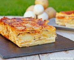 Pastel de patatas con sobrasada y champiñones