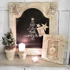 Miłego wieczornego sobotniego relaksu ✨ #vintagehomedecor #frenchstyle #chalkmagnetboard #handmade #christmas #decorations