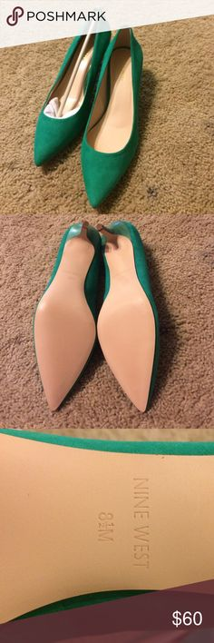 Emerald green kitten heel pumps NineWest 8.5 New with dust bag from Stitch Fix. Nine West emerald green kitten heel pumps in a size 8.5. Nine West Shoes Heels