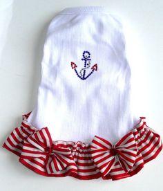 Perros vestidos de rojo blanco y azul náutico ancla náutica