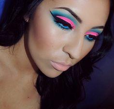 Colorful cut crease makeup