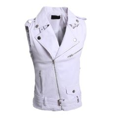 Buy Mens Leather Motorcycle Vest Harley Mens Leather Vest Red Waistcoat Steampunk Rock Slim Zipper Sleeveless Jacket at Wish - Shopping Made Fun Biker Leather, Lambskin Leather, White Leather, Leather Jackets, Men's Waistcoat, Motorcycle Vest, Sleeveless Jacket, Vest Men, Jacket Men