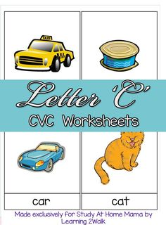 CVC Worksheets: C CVC Words ⋆ Study at Home Mama