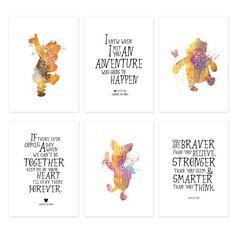 SALE! Classic Winnie the Pooh Nursery Art Set of 6 Prints,Disney Winnie the pooh…