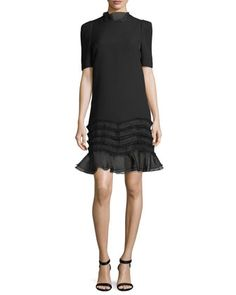 Melody+Ruffle+Trim+Short-Sleeve+Mini+Dress+by+Camilla+&+Marc+at+Neiman+Marcus.