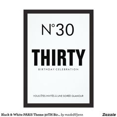 CHANEL PARTY IDEAS Black & White PARIS Theme 30TH Birthday Party Invitation