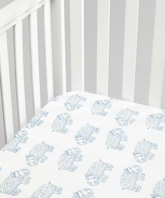 Love this White & Blue Hippo Organic Muslin Fitted Crib Sheet on #zulily! #zulilyfinds