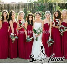 New Arrival Bridesmaid dress A line Sweetheart Chiffon Pleat Deep Red Long Wedding party Bridesmaid Dresses