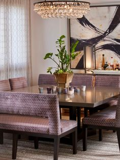 dining by Lori Gentile Interior Design http://www.houzz.com/photos/3981168/Hollywood-Glamour-contemporary-dining-room-san-diego