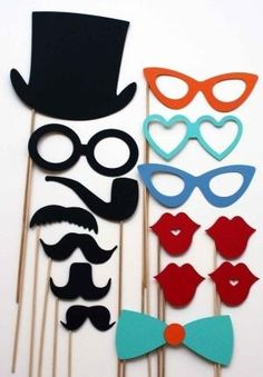 Photo Booth Props 15 Piece Party Props by BeBopProps on Etsy Mom could totally make these and I could have a DIY photo booth Diy Photo Booth, Wedding Photo Booth, Photo Booths, Party Fotos, Little Presents, Creation Deco, Party Props, Diy Party, Party Ideas