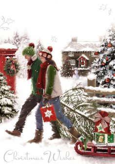 Winter Christmas Scenes, Magical Christmas, Christmas Art, Christmas Holidays, Christmas Decorations, Xmas, Illustration Noel, Christmas Illustration, Vintage Christmas Images