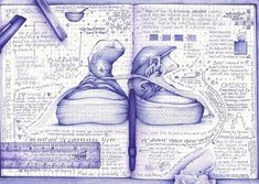 Andrea Joseph is a moleskine fan and sketching master. Her moleskine is full of great everyday objects skecthed with pencils or pens. Arte Sketchbook, Sketchbook Pages, Sketch Journal, Moleskine, Andrea Joseph, Doodle Art, Sketch Note, Ballpoint Pen Drawing, Drawn Art