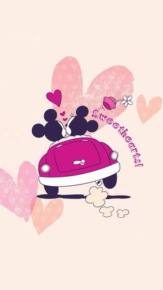 Wallpaper Minnie e Mickey Disney Mickey Mouse, Mickey Mouse E Amigos, Mickey And Minnie Love, Retro Disney, Mickey Mouse And Friends, Disney Love, Disney Magic, Disney Art, Pink Minnie
