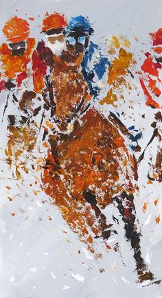 "Saatchi Art Artist Alessandro Piras; Painting, ""Horse race in the snow"" #art"