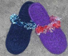 Womens Felted Slippers Crochet Downloadable Pattern