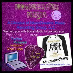#MoonDreamsMedia a Division of #MoonDreamsMusic Recording Group LLC - We help Musicians/Bands maximize their #SocialMedia presence