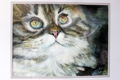 Cat Watercolor Painting Art Print Cat Portrait Art Print Art Wall Decor Art Home Decor Wall Hanging Pigment Inks Epson Fine Art Paper - pinned by pin4etsy.com