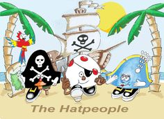 Pirate Treasure Ahoy! Now available on Amazon, Children's pirate adventure picturebook, the Hatpeople's second adventure, children's books, kidsbooks, kidlit, kidlitart, ship, island, sailor, captain, parrot, treasure map, strong female character.