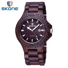 SKONE Men Wooden Watch Calendar Display Quartz-Watch Wood Watches Men Fashion Casual Wristwatch Male Clock Relogio Masculino