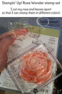 Rose Wonder stamp set cut apart to stamp rose and leaves in 2 separate colors! Stampin' UP! Tip & Time Saver!