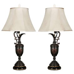 Pair Antique Ewers as Table Lamps