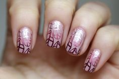 First, I applied my base colour, in this case: Zoya Rue and I chose 3 stamping shades that go well with my base. These 3 are Poetic, Emotion and Joy from the 2009 China Glaze collection, Romantique Spring – the whole collection is meant for stamping, they are amazing!