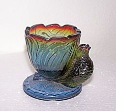 toothpick holder   PURPLE CARNIVAL GLASS TOOTHPICK HOLDER W/BIRD. Click on the image for ...