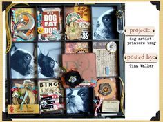 7 Gypsies Printer Tray ~Puppy Love~ by Dog Scrapbook, Dog Artist, Circle Punch, Animal Crafts, Vintage Labels, Shadow Box, Letterpress, Puppy Love, Favorite Color