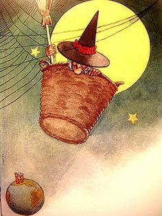 """There was an old woman tossed high in a basket"" - Fanny Cory's Mother Goose, 1913"