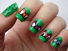 Turtley Awesome: TMNT Nails Teenage Mutant Ninja Turtles nail art