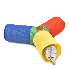 cat tunnel 3 way - PAWZ Road Pet Toy Cat Tunnel Dog Tube Colorful Design Rainbow Style 3 Short Legs * More info could be found at the image url. (This is an affiliate link) #CatTunnels