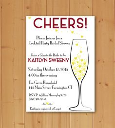 Cheers to the Bride Bridal Shower Invitation Downloadable File by JMCustomInvites on Etsy