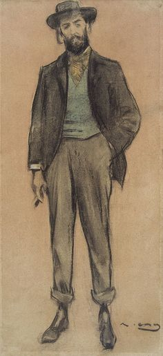 Portrait of Pere Romeu (Ramon Casas y Carbó - ) Fine Art Drawing, Figure Drawing, Ramones, Silverpoint, Artistic Visions, Sketch Poses, Modernisme, Spanish Artists, Vintage Artwork