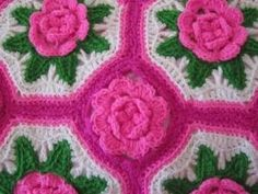 HANDMADE 3D ROSES FLOWER CROCHET AFGHAN THROW PINK BUDS SHABBY CHIC by maxine