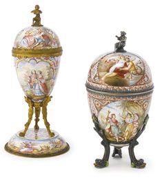 An Austrian sivler-gilt mounted enamel egg, Hermann Boehm, Vienna, circa 1890 Faberge Jewelry, Egg Art, China Painting, Fenton Glass, Antique Glass, China Porcelain, Silver Enamel, Vienna, Enamels